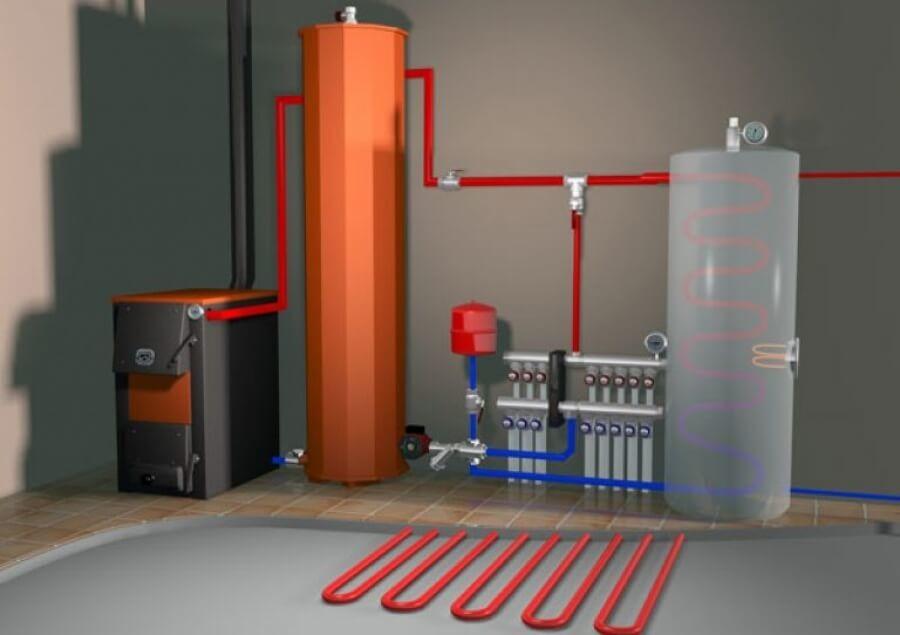 теплоаккумулятор підключений до твердопаливного котла